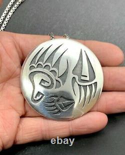 Loren Sakeva Signed Hopi Sterling Silver Bear Claw Overlay Pendant Pin Necklace