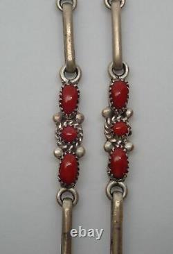 Lorraine Waatsa Zuni Sterling Silver & Coral Southwest Cluster Necklace