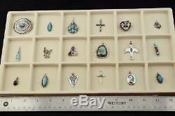 Lot of 18 Native American Old Pawn Sterling Silver Turquoise Coral Pendants Pin
