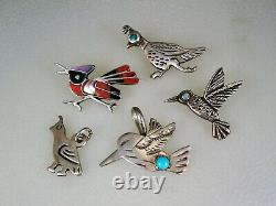Lot of 5 OLD NAVAJO ZUNI STERLING SILVER & TURQUOISE + INLAY BIRD PINS PENDANTS