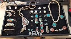 Lot of Zuni Navajo sterling silver turquoise rings bracelets, squash blossom, pin