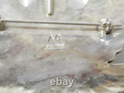 Lrg Navajo Sterling Silver Turquoise Thunderbird Pin Pendant Albert Cleveland