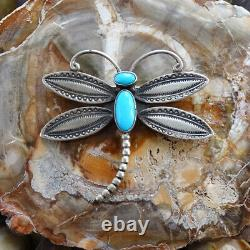 Lucille Calladitto LC Navajo Sterling Dragonfly Pin with Turquoise Hallmarked