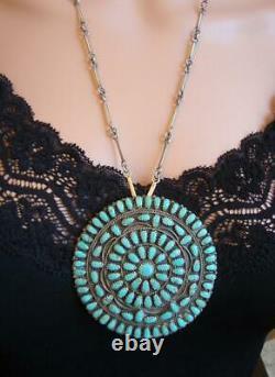 Lura Moses Begay Navajo Impressive Lg Vtg Sterling Turquoise Cluster Pendant Pin