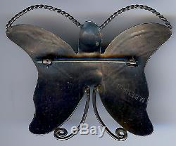 M. Benally Vintage Navajo Indian Sterling Silver Happy Butterfly Pin Brooch