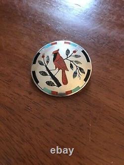M & J Edaakie Zuni mosaic inlay Inlaid Red Cardinal Bird Signed 925 Pin Pendant