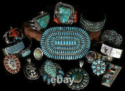 MASSIVE Old Pawn Begay Signed NAVAJO Sterling Petit Point Turquoise Pin Pendant