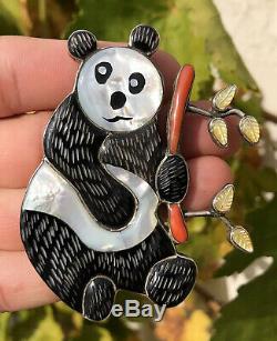 MASSIVE Old Zuni Sterling Silver Multi Stone Inlay Panda Bear Banboo Pin Pendant