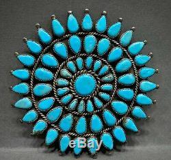 MASSIVE Vintage Navajo Sterling Silver Kingman Turquoise Cluster Pendant Pin