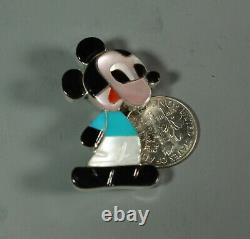 MICKEY MOUSE Pin Pendant Zuni Paula Leekity inlay Zunitoons zuntioon
