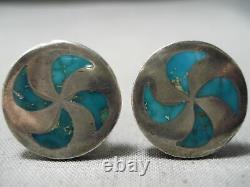 Magnificent Vintage Zuni Blue Gem Turquoise Sterling Silver Cufflinks Old