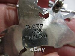 Magnificent Vtg Navajo Frank Salcido Sfp Sterling Indian Charging On Horse Pin