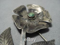 Marvelous Vintage Navajo Flower Sterling Silver Turquoise Pin Old