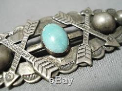 Marvelous Vintage Navajo Turquoise Sterling Silver Pin Native American Old