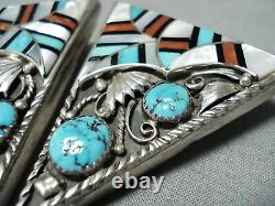 Most Intrciate Vintage Navajo Turquoise Inlay Sterling Silver Collar Protectors