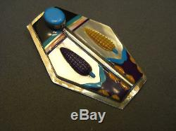 Multistone inlay sterling silver corn pin or pendant 2 7/8 x 2
