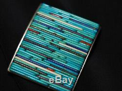 Museum Quality! Sterling & Turquoise Cornrow Heishi Pin/pendant Kewa/sd Pueblo