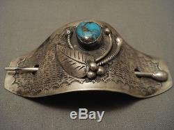 Museum Vintage Navajo Bisbee Turquoise Silver Hair Pin Barrette