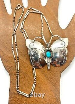 N Silago Signed Navajo Sterling Silver Turquoise Butterfly Pendant Pin Necklace