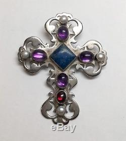 NAKAI Navajo Sterling Silver Multi Stone Gem Cross Pendant Pin, Amethyst Pearl