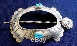 NATIVE AMERICAN STERLING Stamped Domed Turquoise Ladys HANDMADE Vintage HAIR PIN