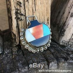 NATIVE AMERICAN ZUNI MOSAIC INLAY POT PENDANT by TEDDY WEAHKEE