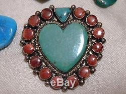 NAVAJO Andy Cadman KINGMAN TURQUOISE Spiny Oyster STERLING Silver HEART PIN Sgnd