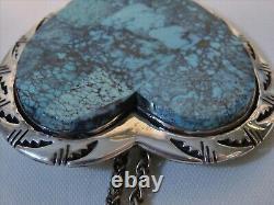 NAVAJO Ben Piaso Jr CLOUD MOUNTAIN Turquoise STERLING Silver HEART Pendant Pin