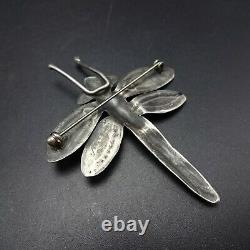 NAVAJO Hand Stamped Sterling Silver TURQUOISE DRAGONFLY PIN/BROOCH