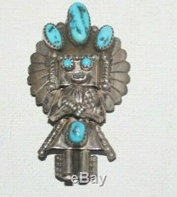 NAVAJO KACHINA YEI Sterling Silver Kingman Turquoise Pendant Doris Smallcanyon