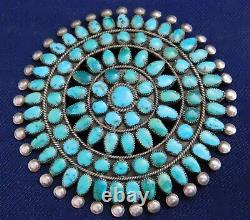NAVAJO PAWN STERLING DOMED TURQUOISE HANDMADE Vintage CLUSTER PIN Estate