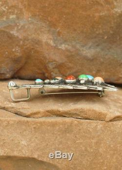 NAVAJO-STERLING SILVER MULTI-STONE CHRISTMAS TREE PIN/PENDANT by LEE CHARLEY