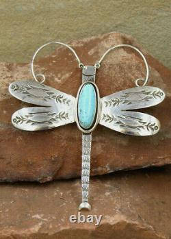 NAVAJO-STERLING SILVER & TURQUOISE DRAGONFLY PIN by HARRIS JOE NATIVE AMERICAN