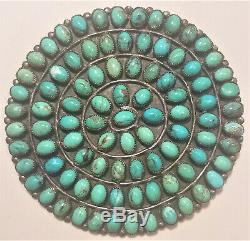 NAVAJO STERLING SILVER & TURQUOISE GIANT 1960`s BROOCH, Signed BTC / NAV