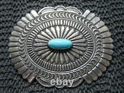 NAVAJO STERLING SILVER TURQUOISE HIPPIE BROOCH! VINTAGE! SUNSHINE REEVES! 33g