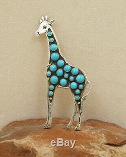 NAVAJO-STERLING & TURQUOISE LARGE GIRAFFE PIN by LEE CHARLEY-NATIVE AMERICAN