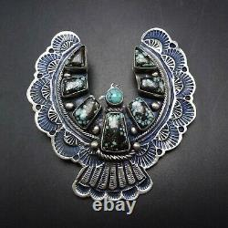 NAVAJO Sterling Silver THUNDERBIRD PIN/PENDANT Turquoise Tightly Webbed Matrix