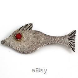 Native Amer Sterling Silver Natasha Peshlakai Fish Pin Brooch Coral Navajo LDA55