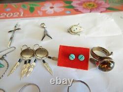 Native American 23 Wholesale Lot. 925 Sterling Silver Rings Earrings Brooch Pin