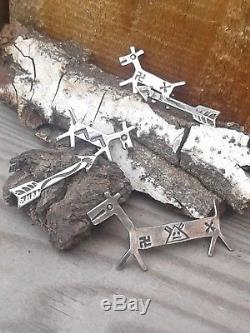 Native American Fred Harvey Era Whirling logs Arrows Sterling Brooch Pins Lot