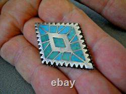 Native American Green & Blue Turquoise Inlay Sterling Silver Diamond Shaped Pin