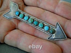Native American Green & Blue Turquoise Row Sterling Silver Stamped Arrow Pin