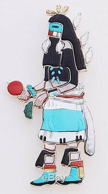 Native American Handmade Zuni Rain Dancer Pin/Pendant by A. L. Shirley