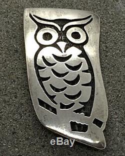 Native American Hopi Bernard Dawahoya Owl Brooch Pin Sterling Silver Overlay