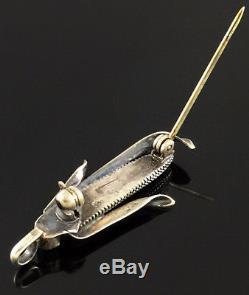 Native American Hopi Kewa Navajo Zuni Corn Pin Pendant Sterling Silver Turquoise