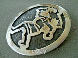 Native American Hopi Sterling Silver Mudhead Sterling Silver Overlay Pendant Pin