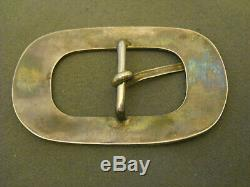 Native American Indian Turquoise Jet Flush Inlay Sterling Silver Pin Belt Buckle
