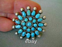 Native American Indian Turquoise Rosette Cluster Sterling Silver Pin Brooch
