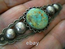 Native American Indian Turquoise Sterling Silver Sun Stamped Pin Brooch