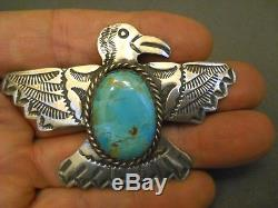 Native American Indian Turquoise Sterling Silver Thunderbird Pin Signed AJC
